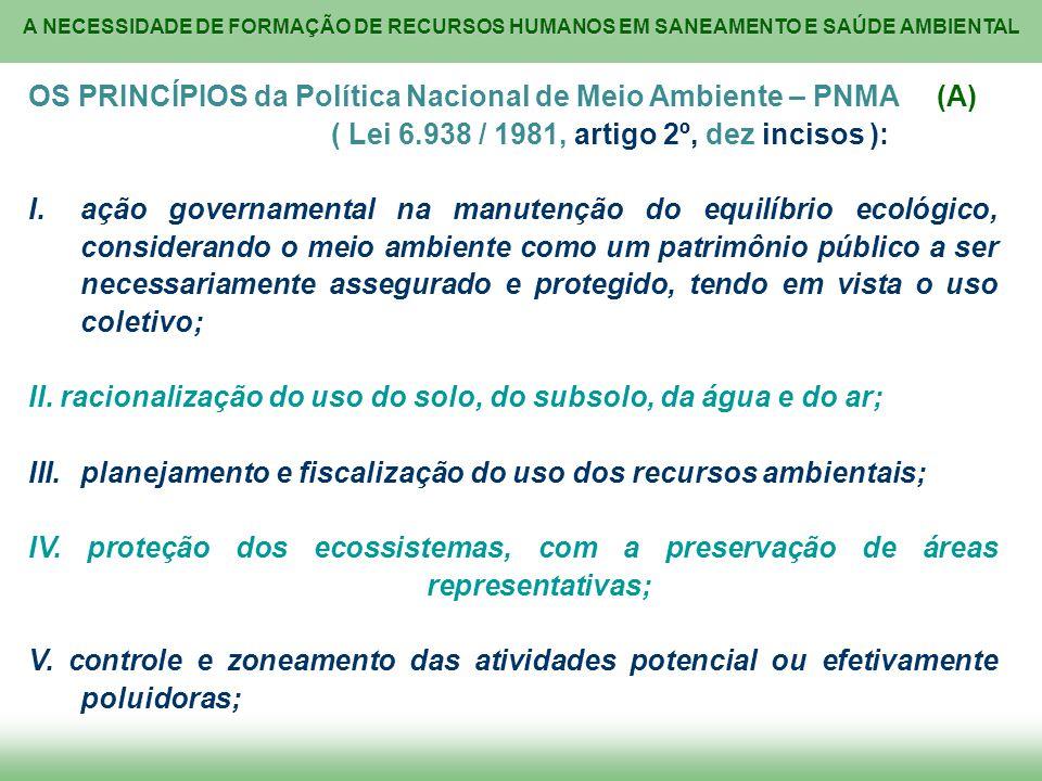 OS PRINCÍPIOS da Política Nacional de Meio Ambiente – PNMA (A)