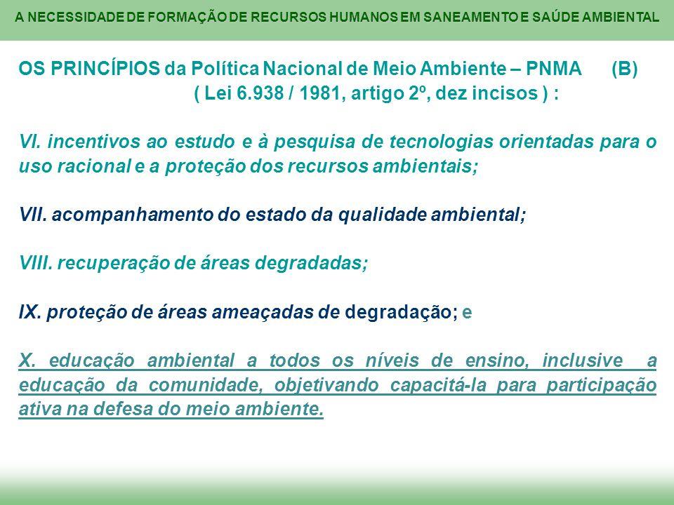 OS PRINCÍPIOS da Política Nacional de Meio Ambiente – PNMA (B)