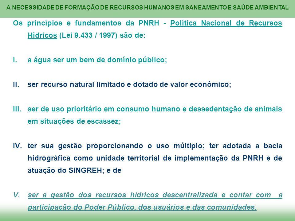 Os princípios e fundamentos da PNRH - Política Nacional de Recursos Hídricos (Lei 9.433 / 1997) são de: