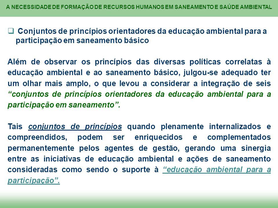 Conjuntos de princípios orientadores da educação ambiental para a participação em saneamento básico