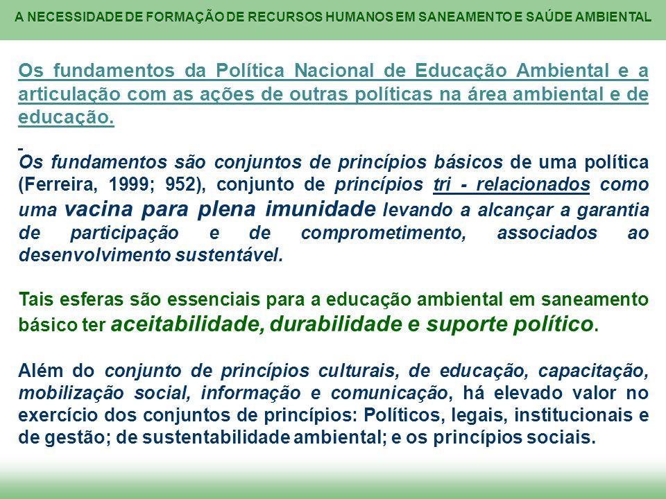 Os fundamentos da Política Nacional de Educação Ambiental e a articulação com as ações de outras políticas na área ambiental e de educação.