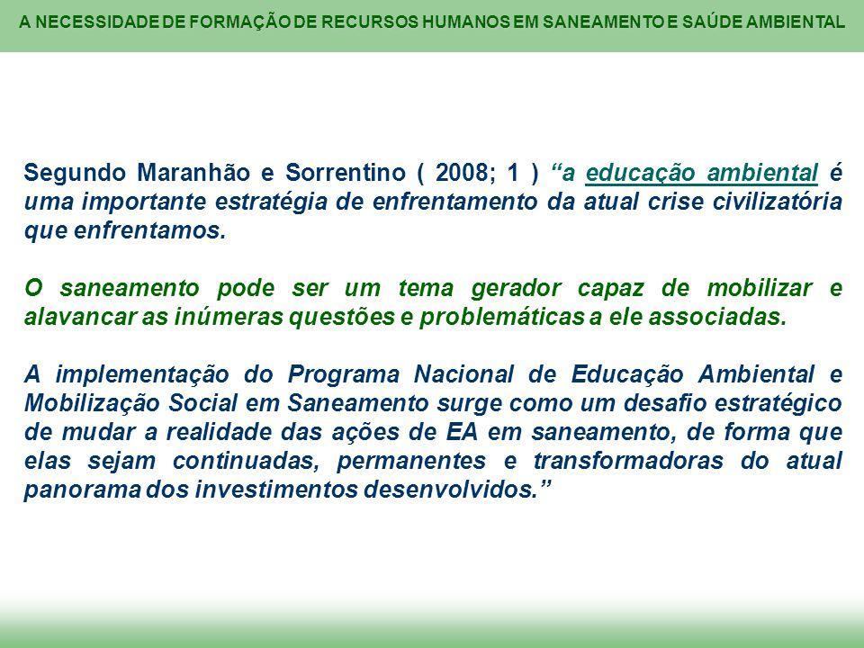 Segundo Maranhão e Sorrentino ( 2008; 1 ) a educação ambiental é uma importante estratégia de enfrentamento da atual crise civilizatória que enfrentamos.
