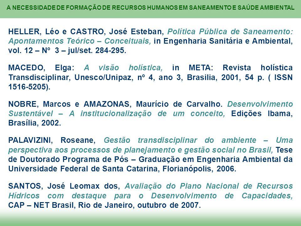 HELLER, Léo e CASTRO, José Esteban, Política Pública de Saneamento: Apontamentos Teórico – Conceituais, in Engenharia Sanitária e Ambiental, vol. 12 – Nº 3 – jul/set. 284-295.
