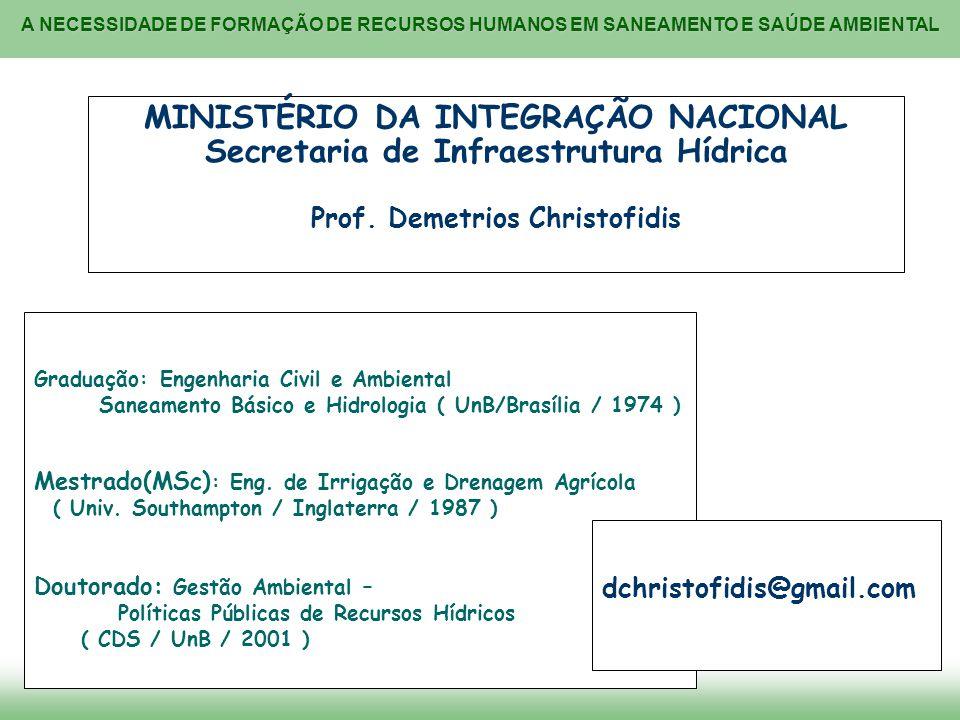 MINISTÉRIO DA INTEGRAÇÃO NACIONAL Secretaria de Infraestrutura Hídrica Prof. Demetrios Christofidis