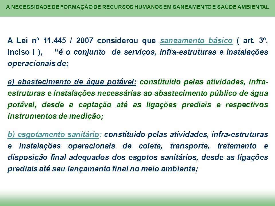 A Lei nº 11. 445 / 2007 considerou que saneamento básico ( art