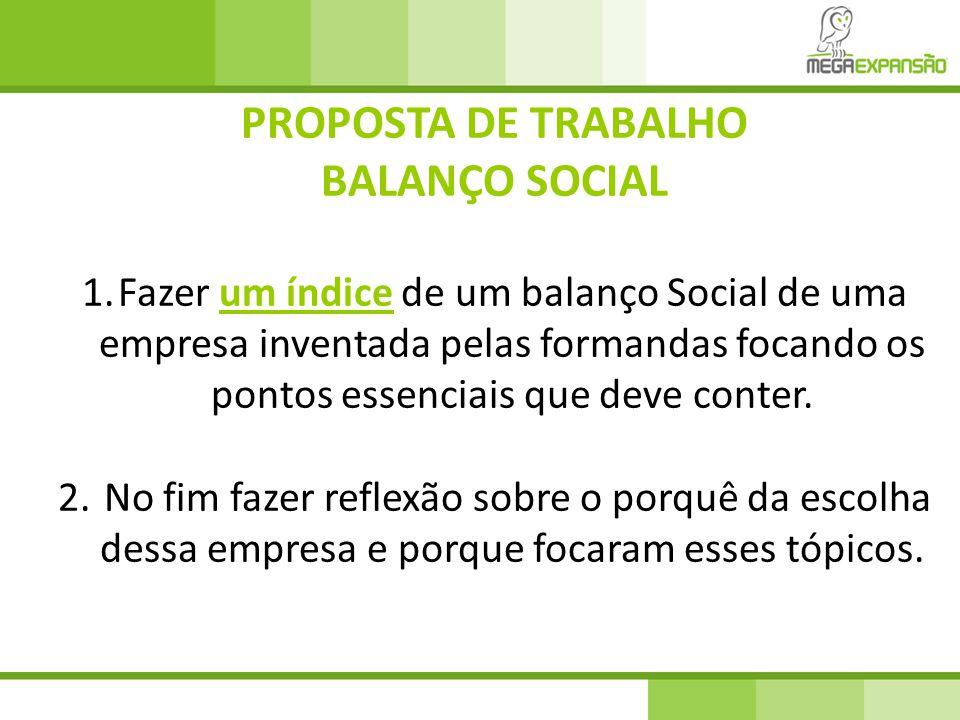 PROPOSTA DE TRABALHO BALANÇO SOCIAL