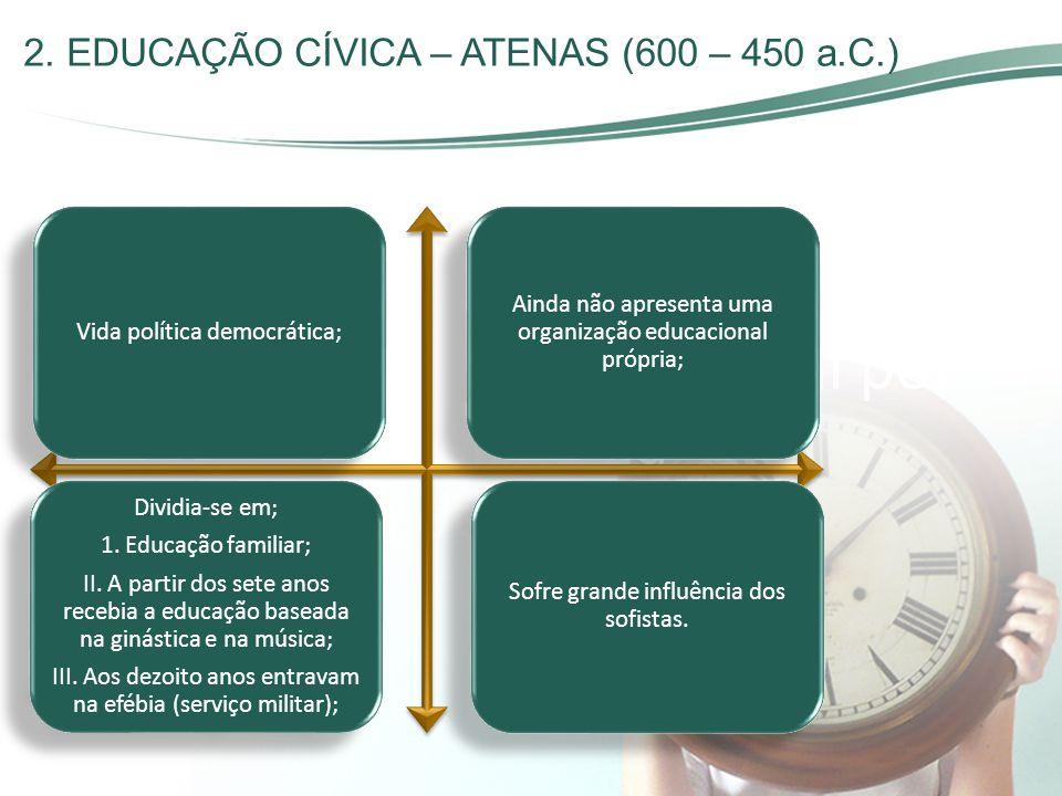 2. EDUCAÇÃO CÍVICA – ATENAS (600 – 450 a.C.)