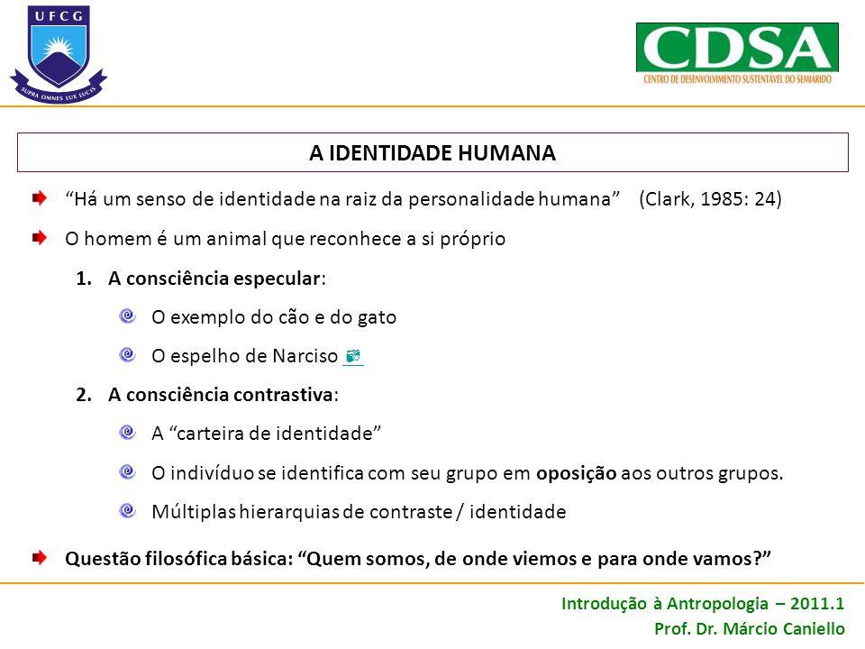 A IDENTIDADE HUMANA Há um senso de identidade na raiz da personalidade humana (Clark, 1985: 24)