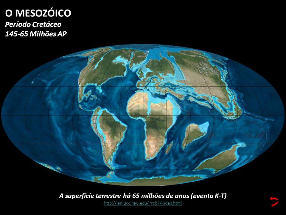 A superfície terrestre há 65 milhões de anos (evento K-T)