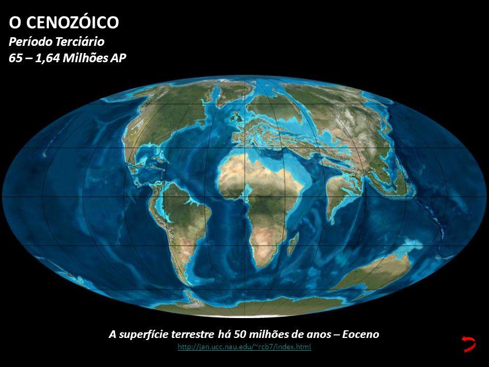 A superfície terrestre há 50 milhões de anos – Eoceno