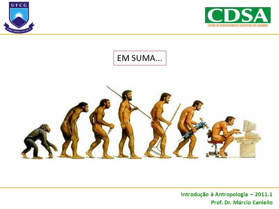 EM SUMA... Introdução à Antropologia – 2011.1