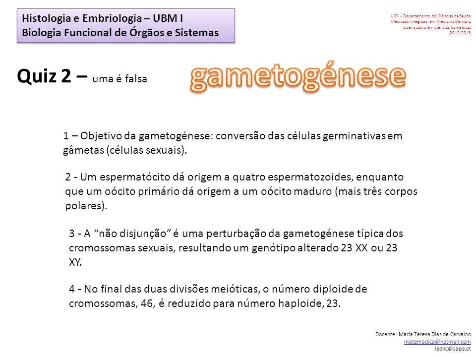 gametogénese Quiz 2 – uma é falsa Histologia e Embriologia – UBM I