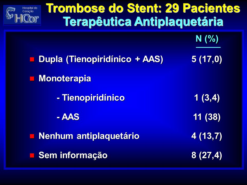 Trombose do Stent: 29 Pacientes Terapêutica Antiplaquetária