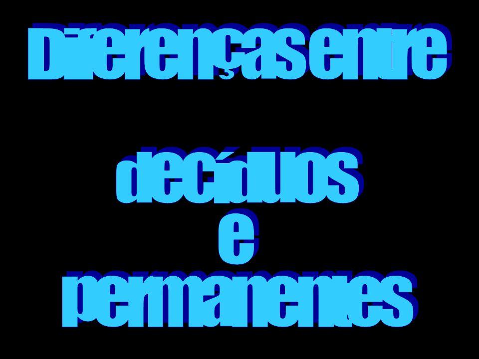 Diferenças entre decíduos e permanentes
