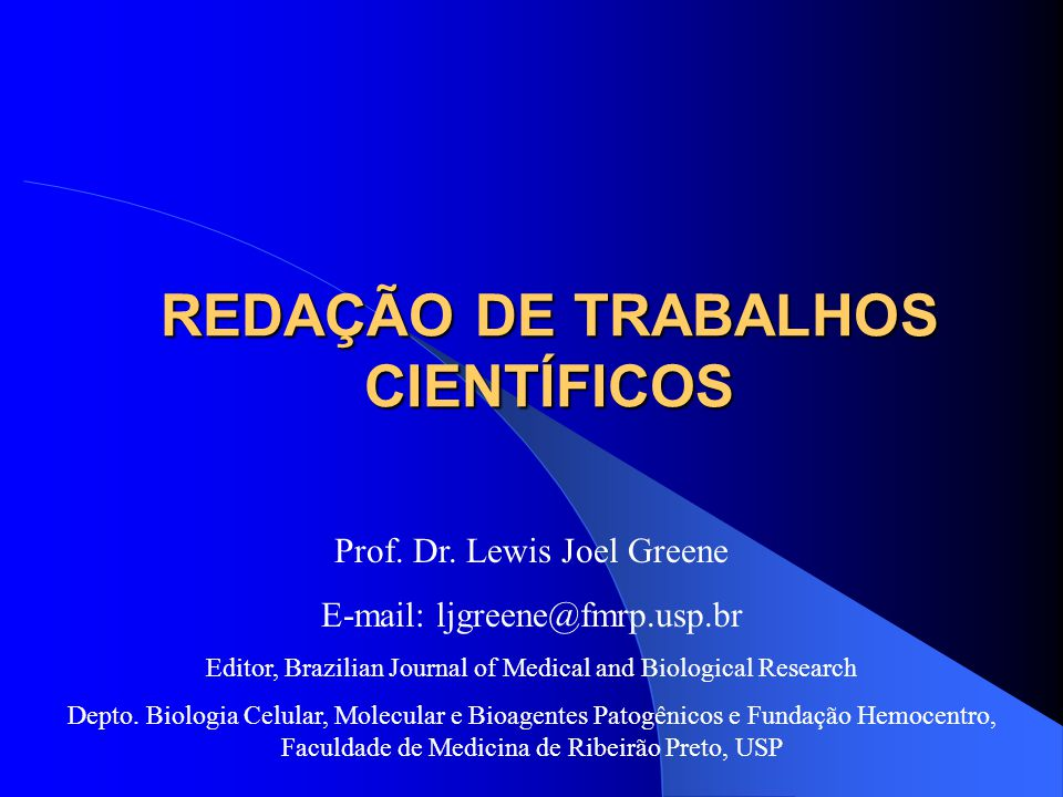 REDAÇÃO DE TRABALHOS CIENTÍFICOS