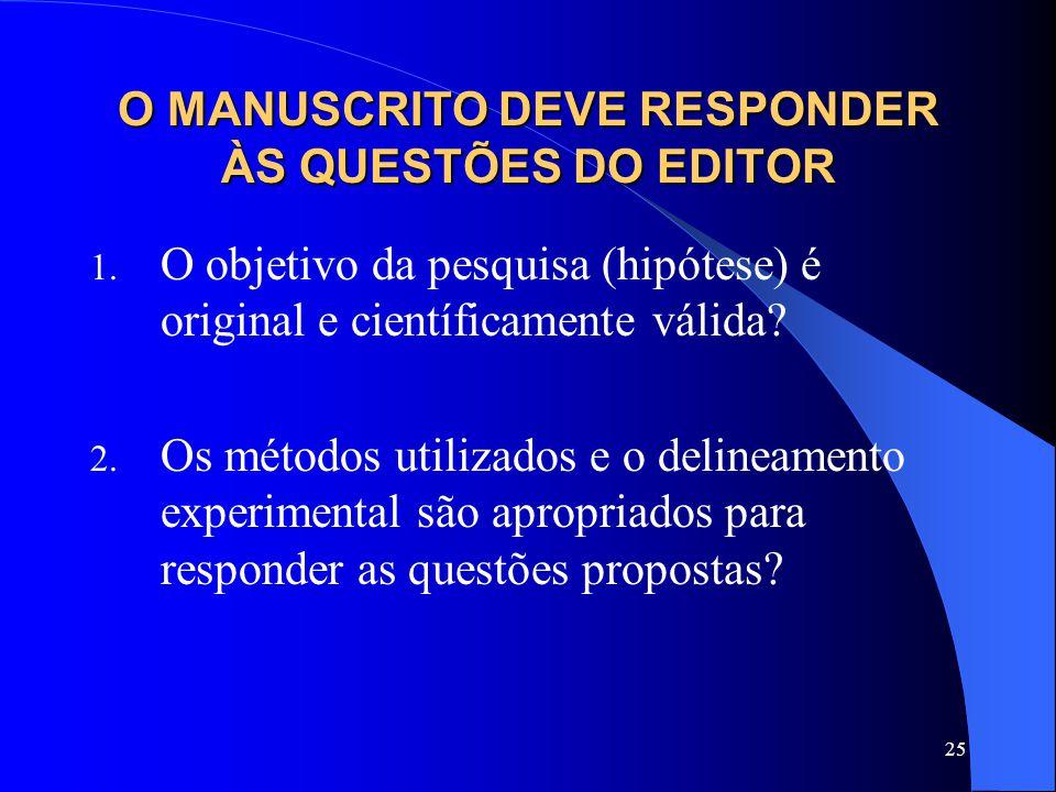 O MANUSCRITO DEVE RESPONDER ÀS QUESTÕES DO EDITOR