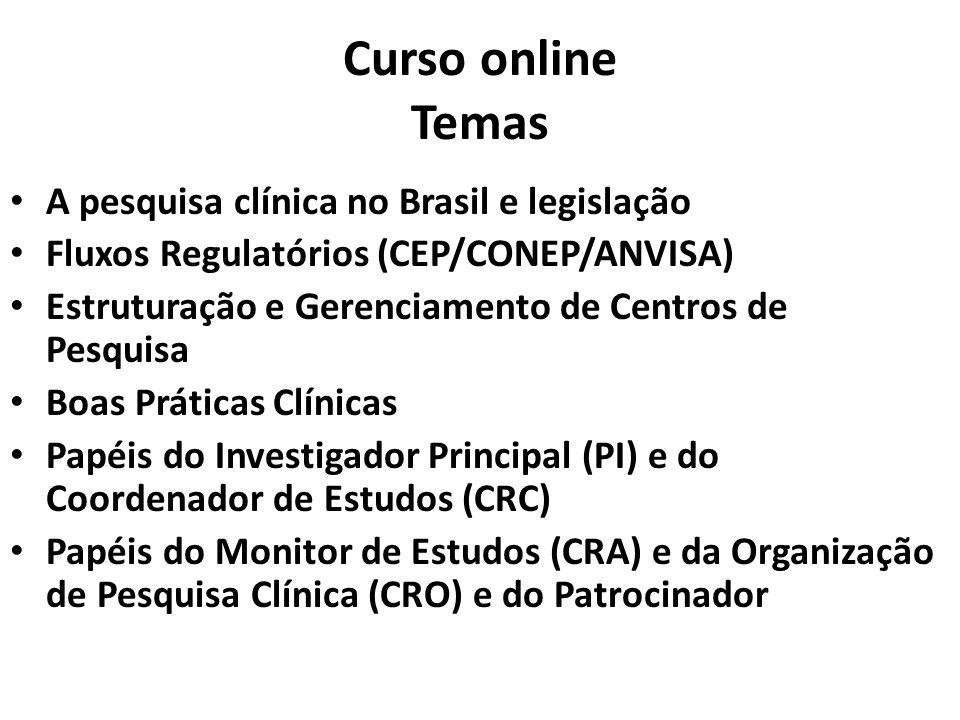 Curso online Temas A pesquisa clínica no Brasil e legislação