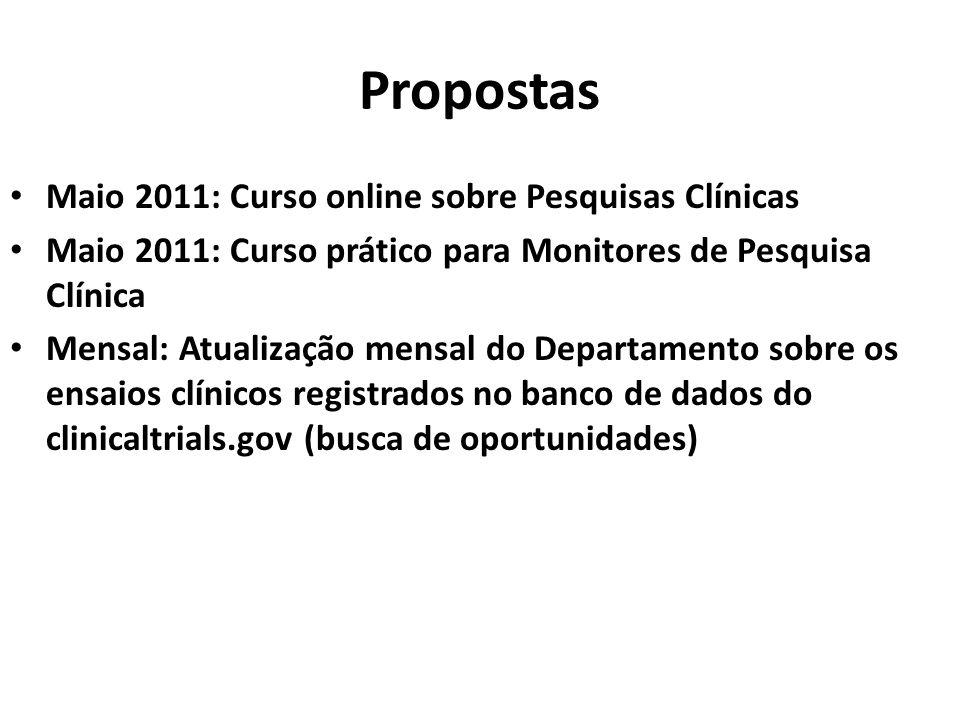 Propostas Maio 2011: Curso online sobre Pesquisas Clínicas