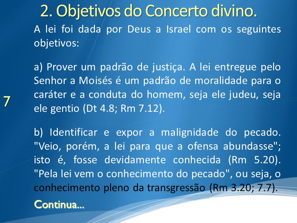 2. Objetivos do Concerto divino.