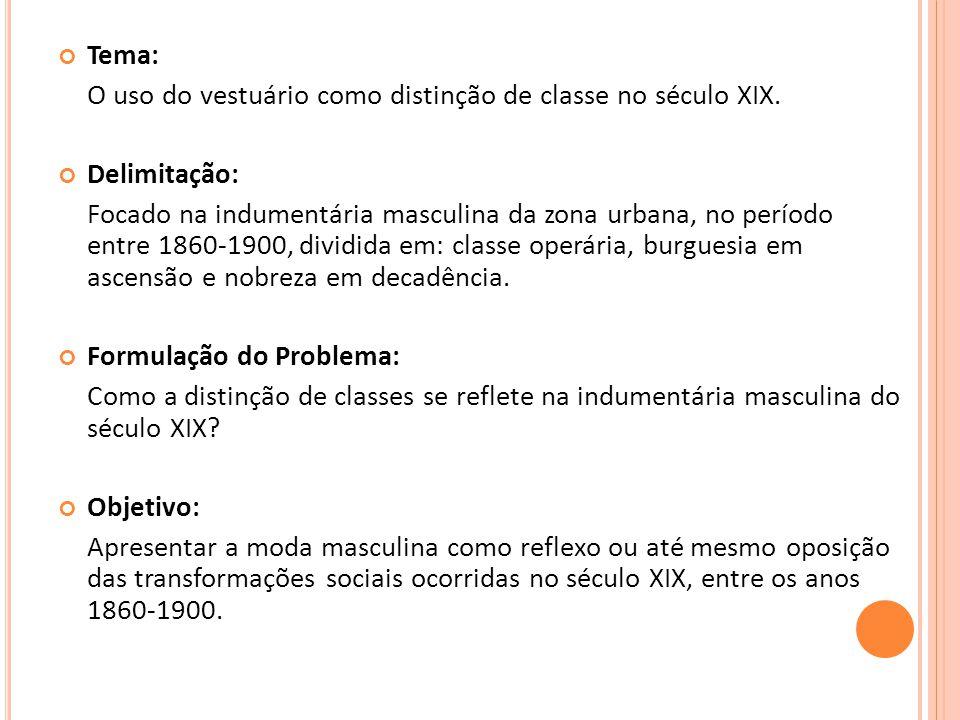 Tema: O uso do vestuário como distinção de classe no século XIX. Delimitação: