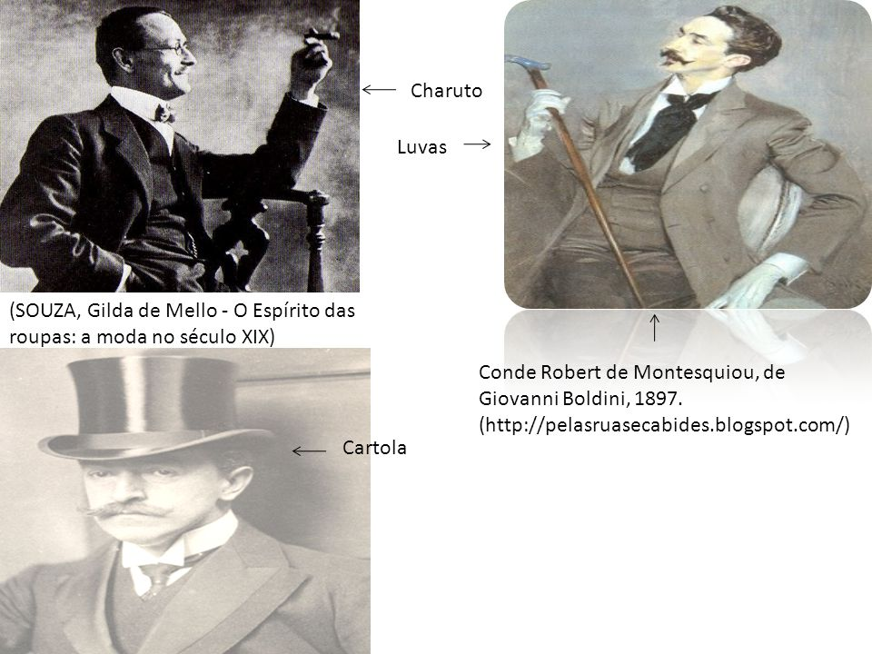 Charuto Luvas. (SOUZA, Gilda de Mello - O Espírito das roupas: a moda no século XIX) Conde Robert de Montesquiou, de Giovanni Boldini, 1897.