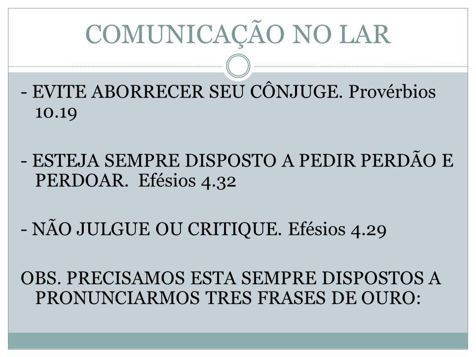 COMUNICAÇÃO NO LAR - EVITE ABORRECER SEU CÔNJUGE. Provérbios 10.19