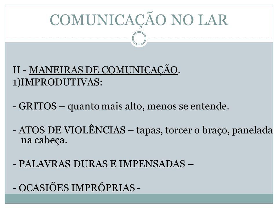 COMUNICAÇÃO NO LAR II - MANEIRAS DE COMUNICAÇÃO. 1)IMPRODUTIVAS: