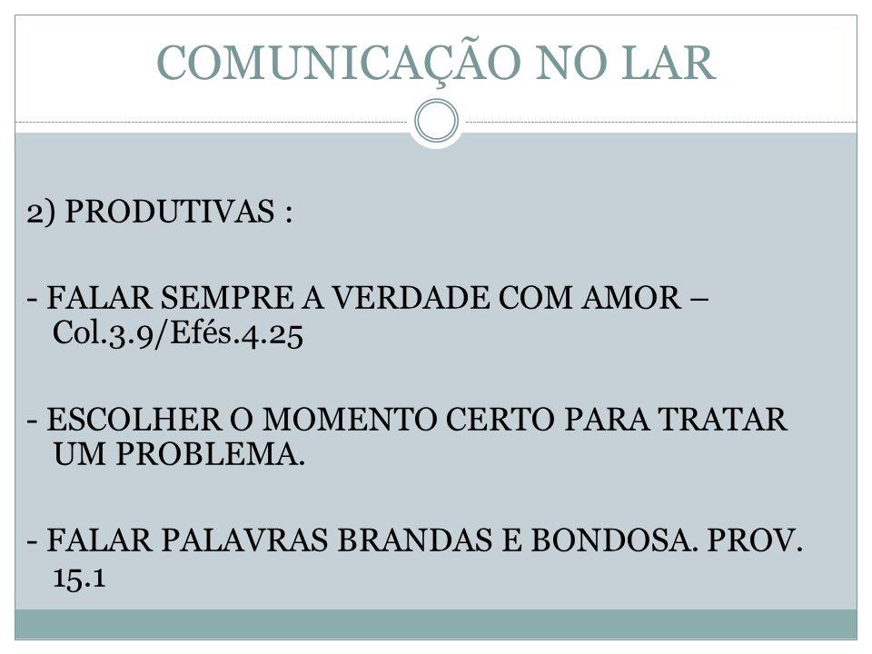 COMUNICAÇÃO NO LAR 2) PRODUTIVAS :