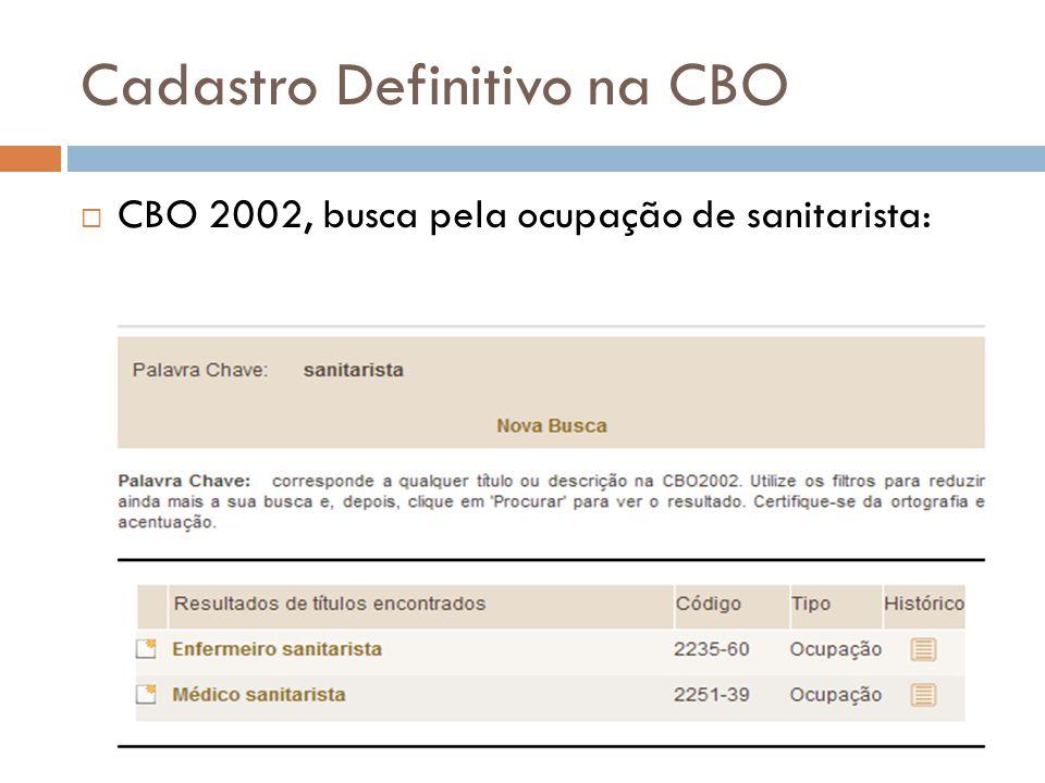Cadastro Definitivo na CBO