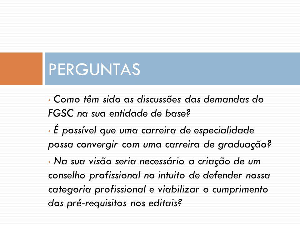 PERGUNTAS Como têm sido as discussões das demandas do FGSC na sua entidade de base