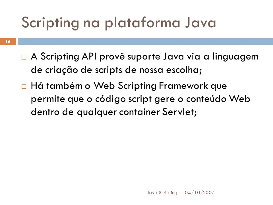 Scripting na plataforma Java