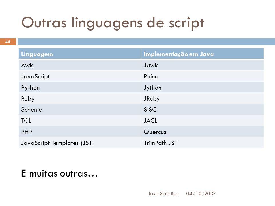 Outras linguagens de script