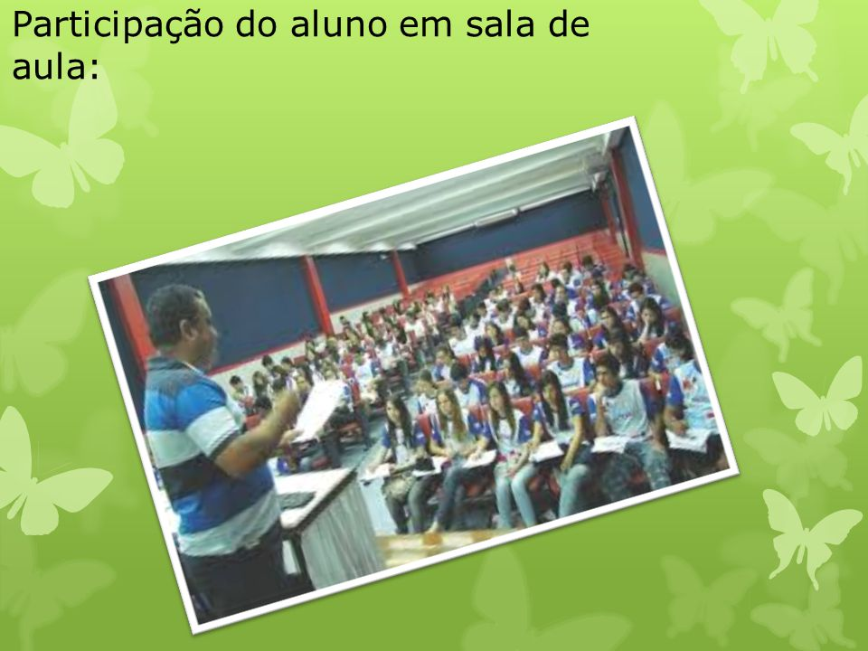 Participação do aluno em sala de aula: