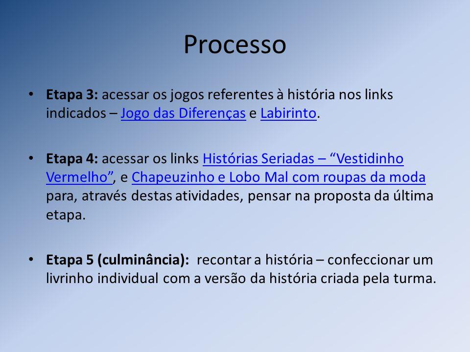 Processo Etapa 3: acessar os jogos referentes à história nos links indicados – Jogo das Diferenças e Labirinto.