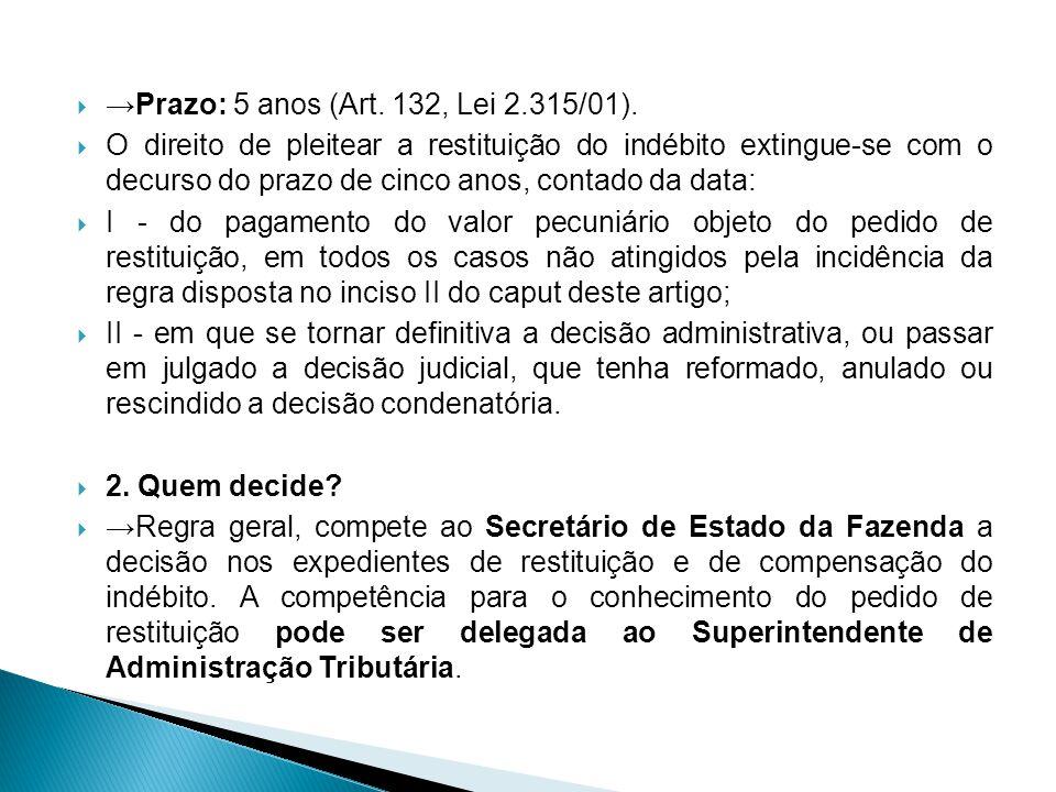 →Prazo: 5 anos (Art. 132, Lei 2.315/01).