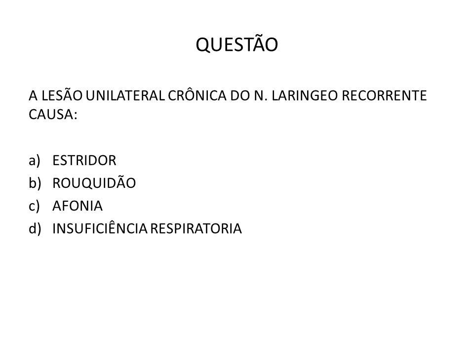 QUESTÃO A LESÃO UNILATERAL CRÔNICA DO N. LARINGEO RECORRENTE CAUSA: