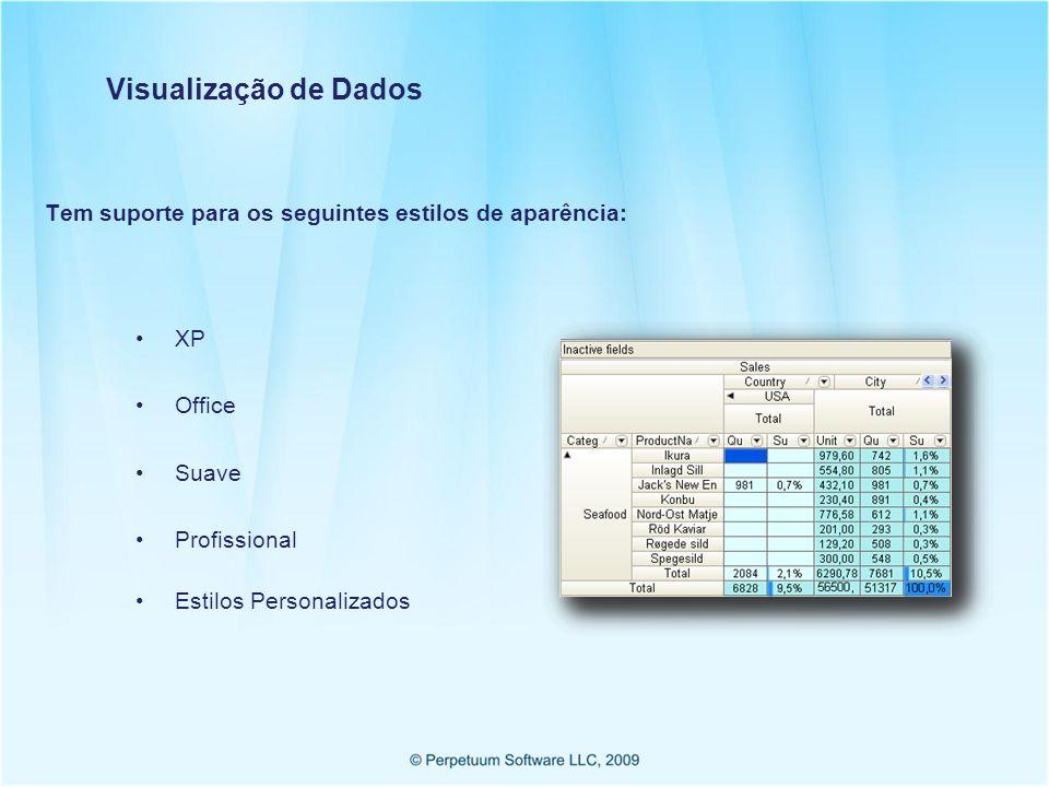 Visualização de Dados Tem suporte para os seguintes estilos de aparência: XP. Office. Suave. Profissional.