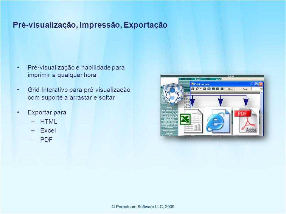 Pré-visualização, Impressão, Exportação