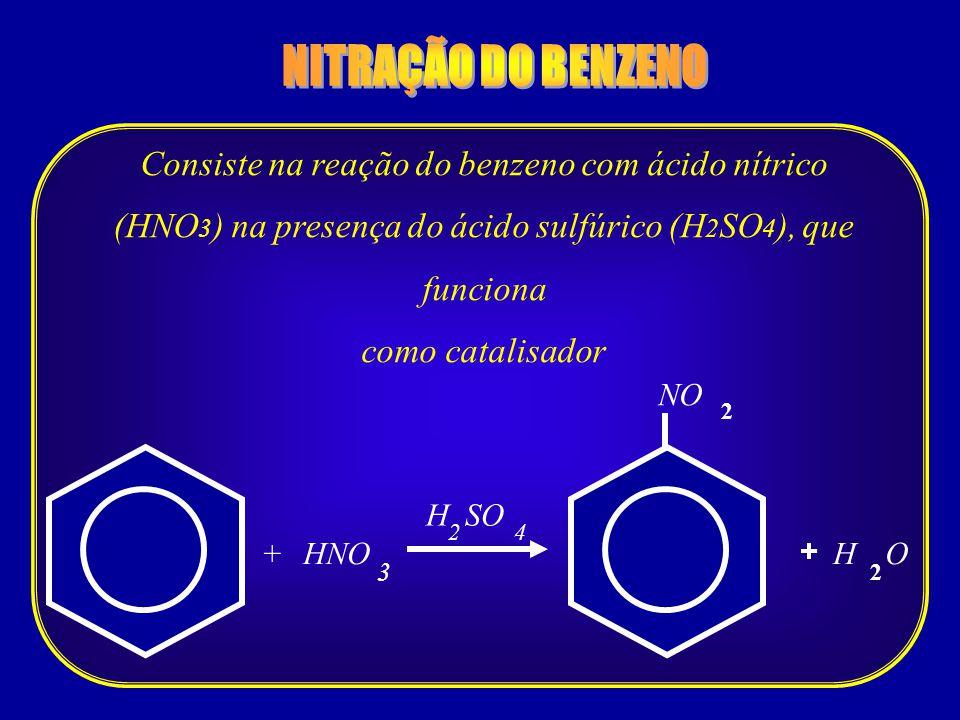 NITRAÇÃO DO BENZENO Consiste na reação do benzeno com ácido nítrico (HNO3) na presença do ácido sulfúrico (H2SO4), que funciona.