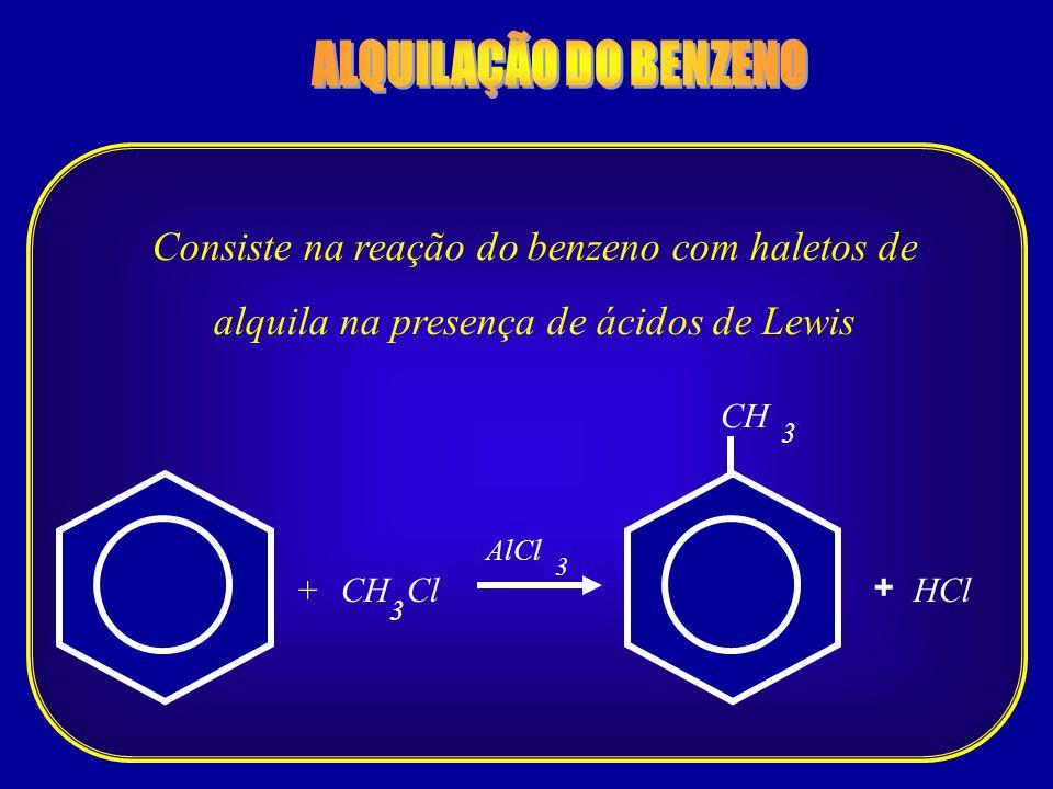 ALQUILAÇÃO DO BENZENO Consiste na reação do benzeno com haletos de alquila na presença de ácidos de Lewis.