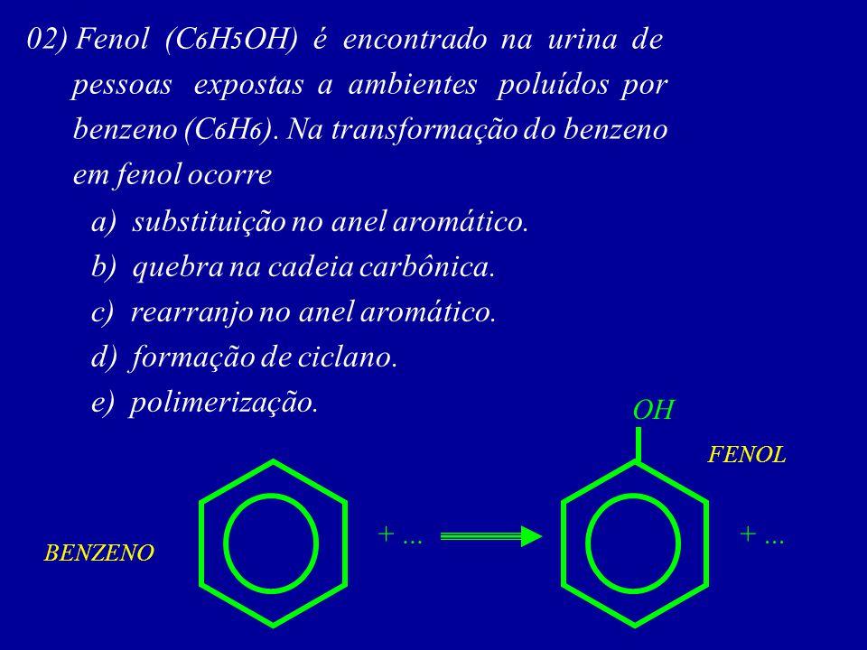 02) Fenol (C6H5OH) é encontrado na urina de