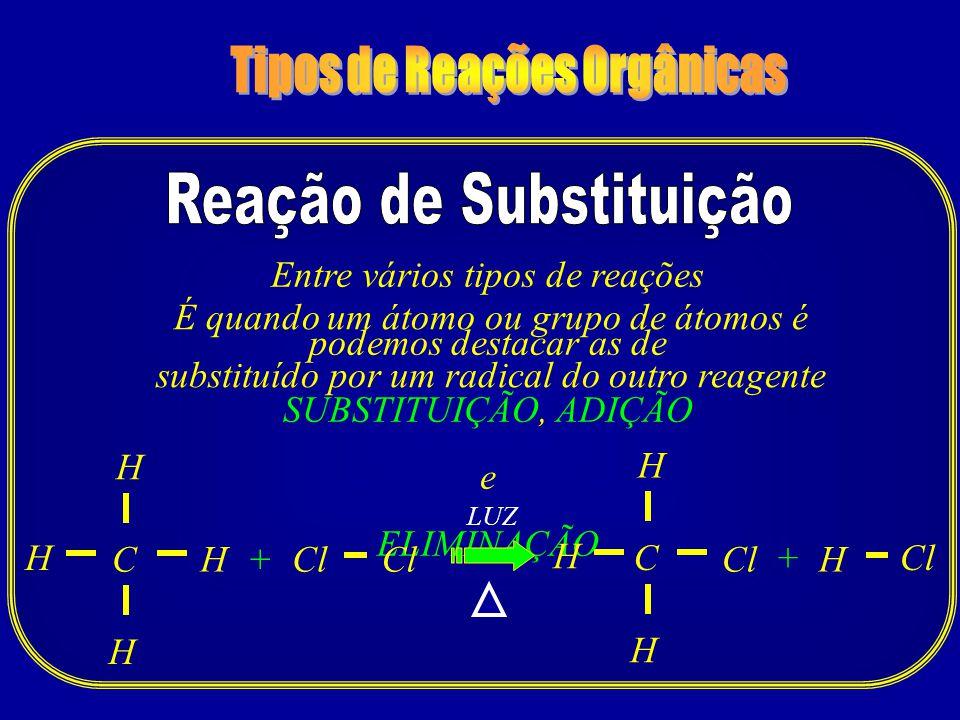 Tipos de Reações Orgânicas Reação de Substituição