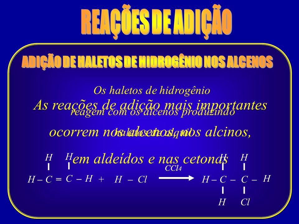 ADIÇÃO DE HALETOS DE HIDROGÊNIO NOS ALCENOS