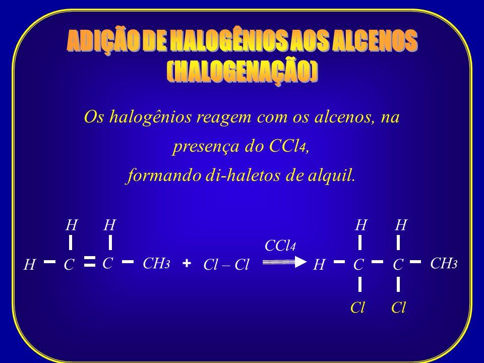 ADIÇÃO DE HALOGÊNIOS AOS ALCENOS