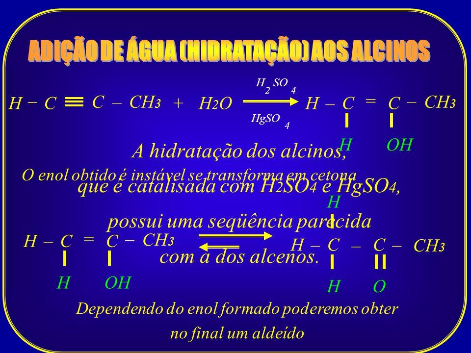 ADIÇÃO DE ÁGUA (HIDRATAÇÃO) AOS ALCINOS