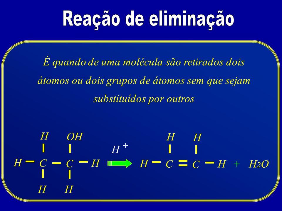 Reação de eliminação É quando de uma molécula são retirados dois átomos ou dois grupos de átomos sem que sejam substituídos por outros.