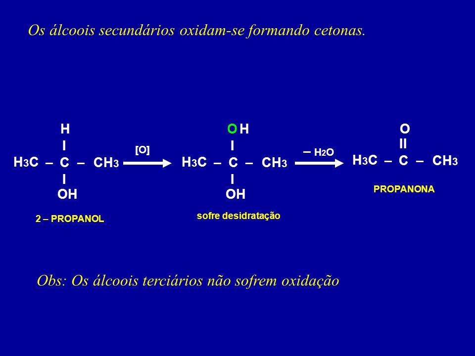 Os álcoois secundários oxidam-se formando cetonas.