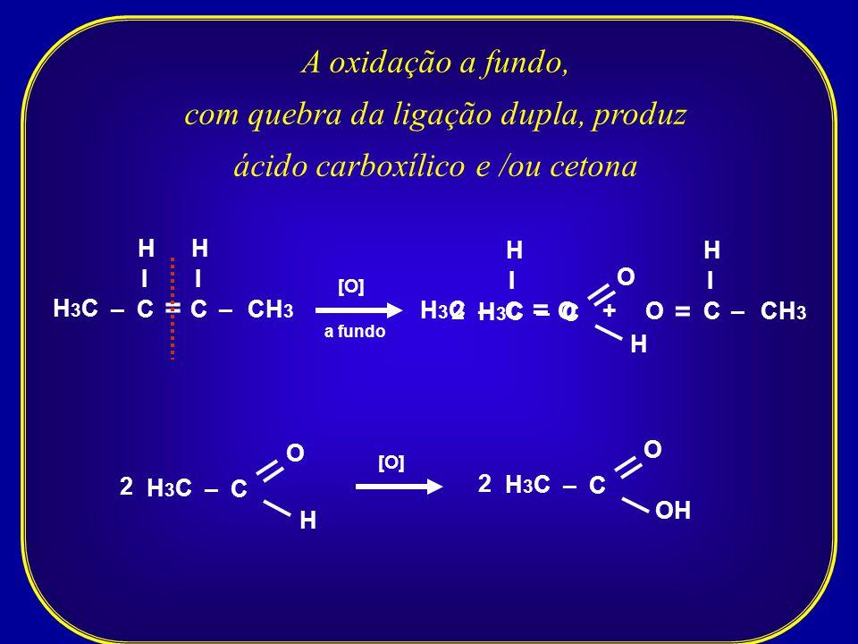 com quebra da ligação dupla, produz ácido carboxílico e /ou cetona