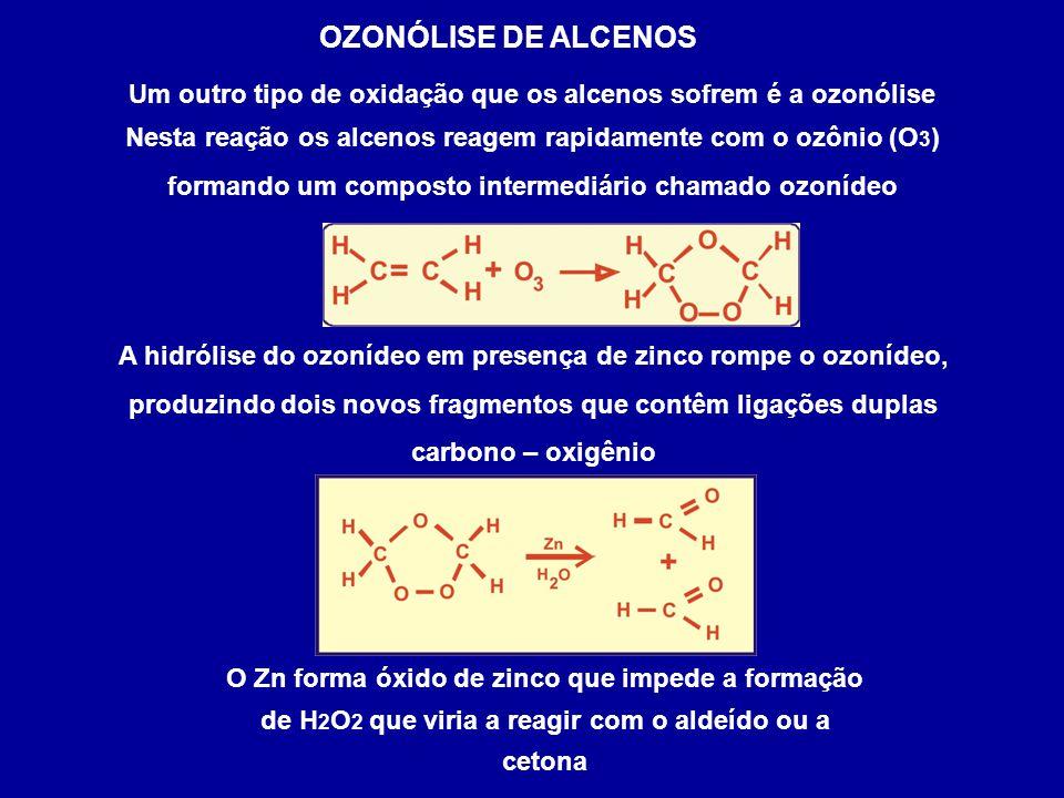 Um outro tipo de oxidação que os alcenos sofrem é a ozonólise