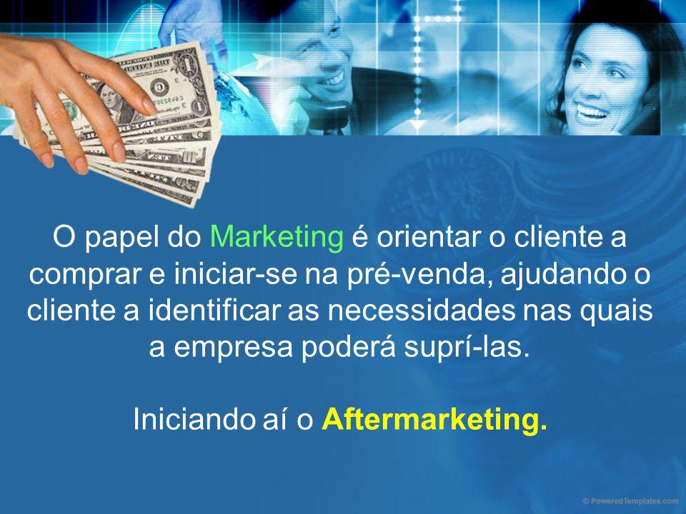 O papel do Marketing é orientar o cliente a comprar e iniciar-se na pré-venda, ajudando o cliente a identificar as necessidades nas quais a empresa poderá suprí-las.